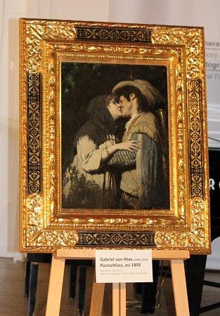 Obraz slehce ironickým názvem – Kurzshchluss je termín používaný vněmčině voblasti elektřiny a znamená krátké spojení nebo zkrat – znázorňuje polibek a je na něm zachycen samotný Max a jeho tehdejší múza a milenka Ernestina Harlanderová.