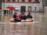 Povodně 2002, Švihov, náměstí