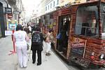 Tramvaj jezdí v úseku Sirková ulice - Prešovská ulice po obousměrné jednokolejce