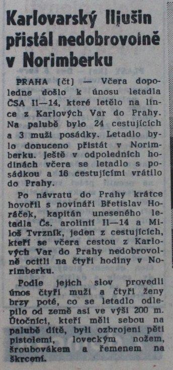 Článek v Pravdě o únosu letadla z 9. června 1970.