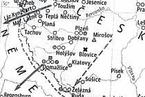 """Akademický atlas českých dějin vydaný v loňském roce. Křížky na mapě označují místa """"největších incidentů (popravy bez soudu apod.) a jeden z nich je také u Blovic"""