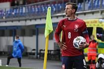 Vladimí Darida jako kapitán české fotbalové reprezentace při utkání Ligy národů UEFA proti Izraeli.