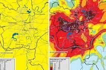 Koncentrace PM10 v ovzduší - srovnání 2. a 6. ledna