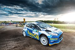 Plzeňská posádka Václav Pech, Petr Uhel s vozem Ford Fiesta R5 skončila na Rallye Hustopeče druhá za Janem Kopeckým s tovární fabií.