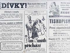 """PRAVDA, 10. října 1947. Jaké filmy byly také k vidění? Například kino OKO zvalo na """"premiéru satirické veselohry ze zákulisí amerického politického života"""" Pan Smith přichází."""