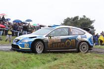 VÁCLAV PECH se spolujezdcem Petrem Uhlem ve voze Ford Focus WRC na trati 41. ročníku Rallye Invelt Pačejov.