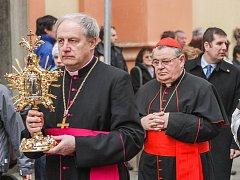 Otevření Svatojánského muzea v Nepomuku. Obnovené muzeum otevřel kardinál Dominik Duka (vpravo)