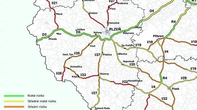 Mapa nebezpečných úseků Plzeňského kraje