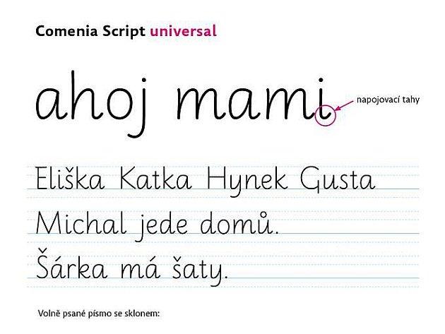 Ukázka jednoho z typů písma Comenia script
