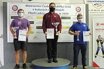 Sportovní střelec Dukly Plzeň Matěj Rampula (uprostřed).