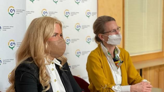 Na snímku ředitelka Centrálního nákupu Plzeňského kraje Jana Dubcová (vlevo) a moderátorka Adéla Havlová (vpravo).
