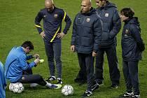 Předzápasový trénink Barcelony