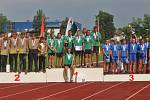 Vítězný tým mladých hasičů z SDH Manětín na republikovém mistrovství ve hře Plamen ve Vlašimi u Benešova.