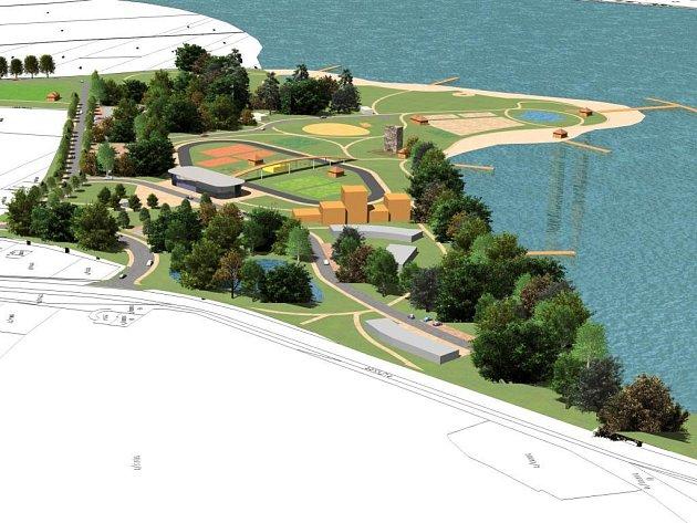 Vizualizace projektu sportovního areálu u borské přehrady