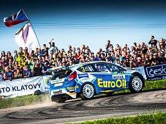 Ford Fiesta R5 plzeňské posádky Václav Pech, Petr Uhel na trati Rallye Šumava.