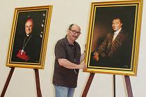 Jadran Šetlík portrétoval také Karla Gotta (vpravo) a bývalého biskupa Františka Radkovského