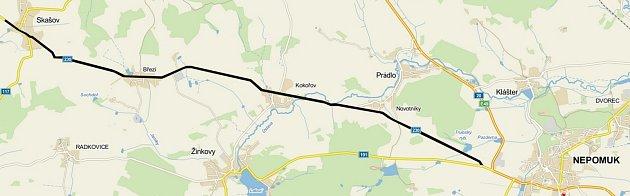 Mapka rekonstrukce silnice II/230 mezi Nepomukem a Skašovem