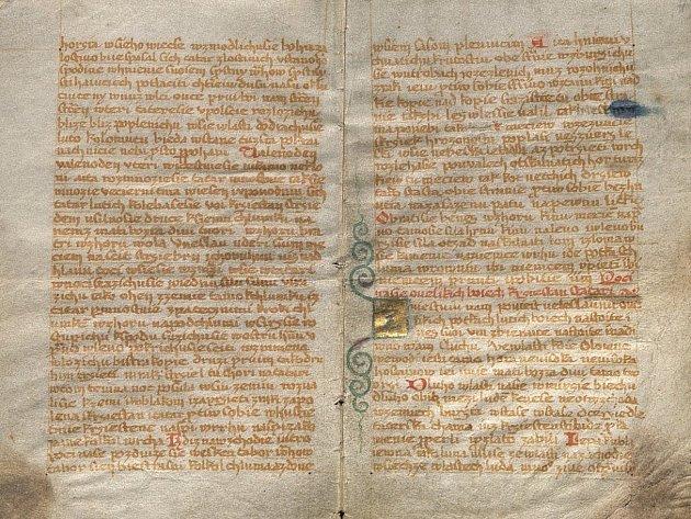 Originál Rukopisu zelenohorského, který zapůjčilo do Blovic Národním muzeum.