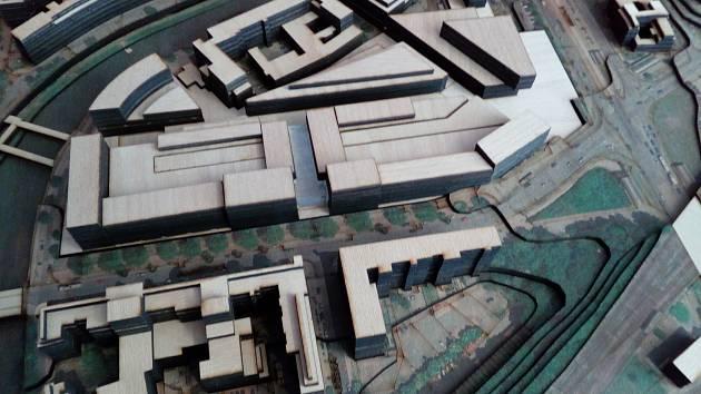 Jedna z variant modelu možného zastavění území mezi Denisovým nábřežím, Sirkovou ulicí a Americkou ulicí v Plzni