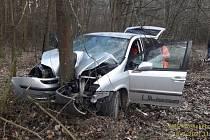Zfetovaný řidič ujížděl před policií v kradeném autě. Narazil do stromu