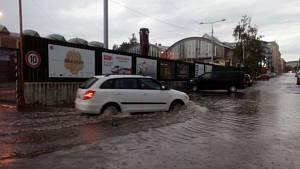 Přívalový déšť v Plzni