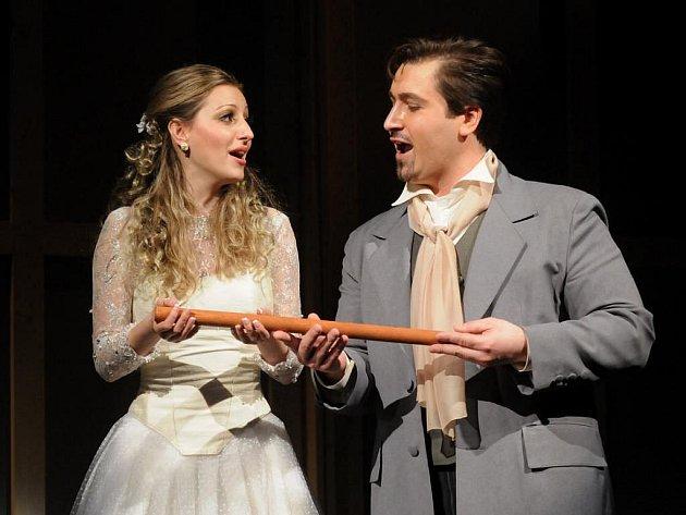 Jednou ze zvláštností nové plzeňské inscenace opery Kouzelná flétna je, že se hraje německy i česky. V sobotní premiéře ve Velkém divadle v Plzni vytvořili postavy Paminy a Tamina hostující srbská pěvkyně Gabriela Ubavič a Richard Samek (na snímku)