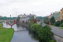 Vizualizace lávky přes řeku Mži a Tyršovu ulici