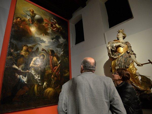 Křest Kristův, obraz slavného barokního malíře Petra Brandla, je jedním zdominantních prvků výstavy, jež přibližuje barokní umění vzápadních Čechách