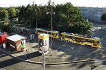 Konečná stanice tramvaje číslo 4 u Borského parku v Plzni