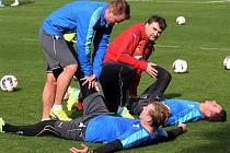 Nedělní dopolední trénink v tureckém Beleku zpříjemnilo fotbalistům Viktorie Plzeň sluníčko. Na snímku vlevo při rozcvičení David Limberský a František Rajtoral (na zemi)