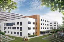 Vizualizace nového pavilonu psychiatrické kliniky ve Fakultní nemocnici Plzeň.