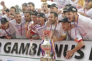 Fotbalisté Viktorie Plzeň se radují z historicky prvního mistrovského titulu.