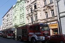 Požár na Americké třídě v Plzni.