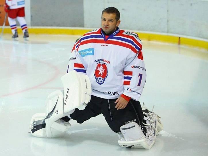 Pavel Kuka v roli hokejového gólmana