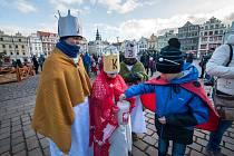 Tříkrálový pochod na náměstí Republiky v Plzni