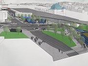 Vizualizace nové podoby prostoru u hlavního vlakového nádraží v Plzni