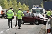 Tak to vypadlo na stočtvrtém kilometru dálnice D5 22. září 2014 poté, co se tam střetlo několik aut.