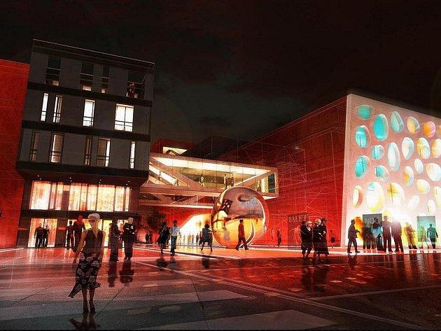 Vizualizace hlavního vstupu do nového plzeňského divadla