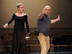 Roman Meluzín při zkoušce muzikálu Polibek pavoučí ženy s představitelkou hlavní role  Zuzanou Kolářovou (vlevo) a choreografkou Alenou Peškovou.