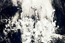 """Tři kříže vytvořil Rembrandt v roce 1653. Dílo na výstavu Rembrandtova tramvaj. Kubismus, tradice a """"jiné"""" umění zapůjčila Národní galerie v Praze."""