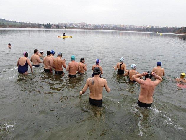 Otužilci se noří do chladných vod Boleveckého rybníku.