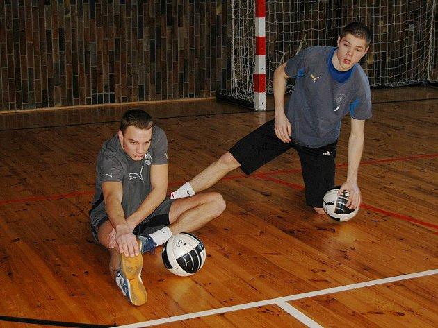 Dopolední fázi přípravy ve středu v Žinkovech absolvovali fotbalisté juniorky Viktorie Plzeň v hale. Na snímku se rozcvičují Aleš Mandous (vpravo) a Michal Růžička