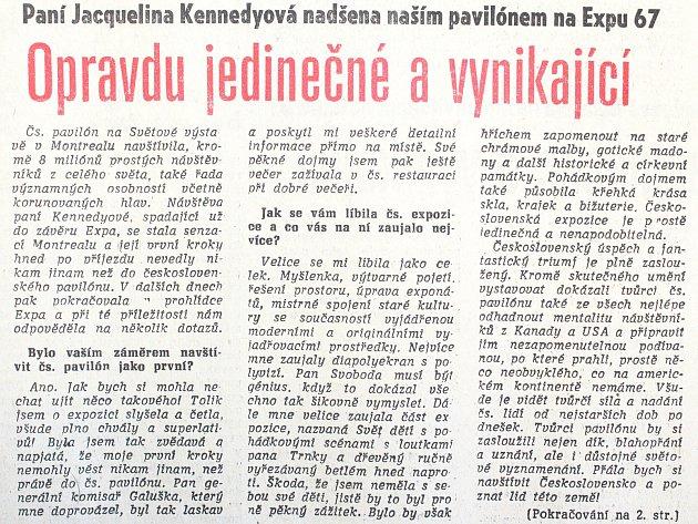 Rozhovor otiskla Pravda 28. října 1967.
