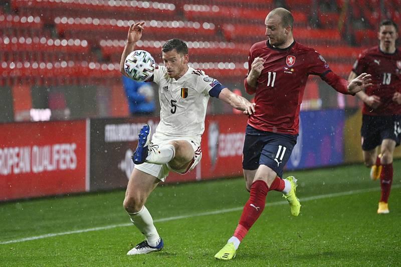 Michael Krmenčík v letošním zápase kvalifikace o světový šampionát 2022 proti Belgii.