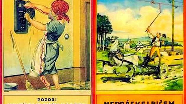 Desítky tzv. úrazových plakátů vydal ve dvacátých letech 20. století Elektrotechnický svaz československý. Varovaly před úrazy, které mohly v souvislosti s elektřinou vzniknout.