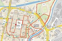 Mapa plzeňského půlmaratonu