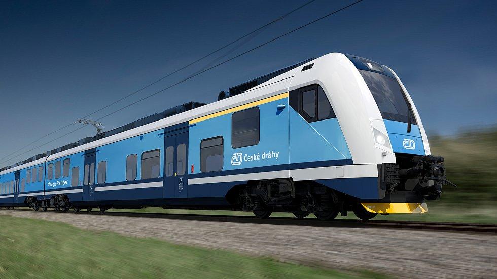 Nové spěšné vlaky zajistí komfortní spojení Plzně, Chebu a Karlových Varů. Na snímku souprava RegioPanter, která podle plánů bude na trati jezdit. Než bude připravená, obslouží trať dočasně souprava RegioShark.