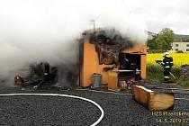 Požár mobilheimu v Ejpovicích
