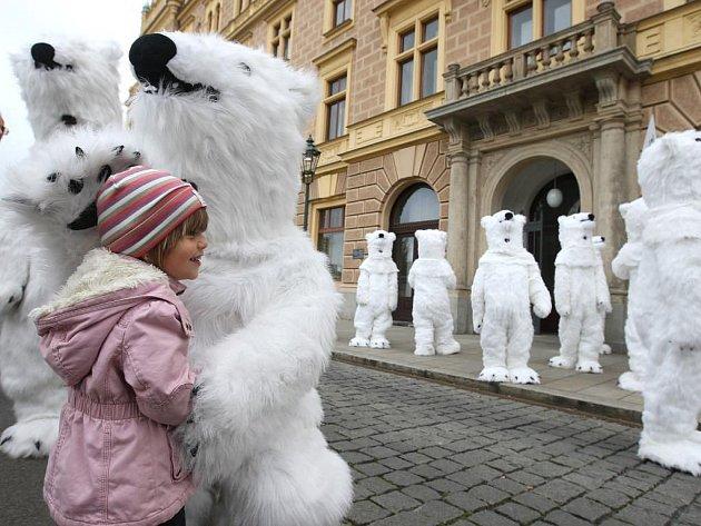Velké pozdvižení budila v úterý dopoledne asi dvacítka lidí v převlecích ledních medvědů. Podle nápisů na transparentech si na plzeňskou právnickou fakultu přijeli pro titul JUDr