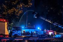 Požár opuštěného objektu v Přeštické ulici v Plzni.